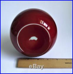 HARRACH OXBLOOD RED Silver Gold ENAMEL Painted BOHEMIAN Art Glass ANTIQUE VASE