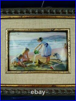 Hand Painted Russian Enamel Picture of the Seaside, Beach, With Certificate