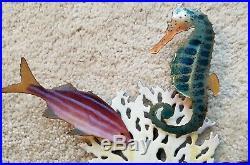 Handmade Bovano Enamel Paint Metal Art Seahorse Fish