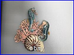 Handmade Bovano Enamel Paint Metal Art Two Seahorse, Coral, And Nautilus Shell