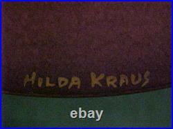Hilda Kraus Midcentury Modern Enamel Copper Art Plate Peacock Painting Signed 9