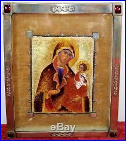 Icon. Virgin With Child. Translucent Enamel. Silver. Morató Circle. Spain. Circa