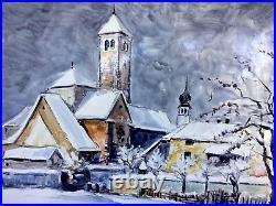 Italian Enamel Painting on Metal Signed Winter Landscape Village Scene Italy