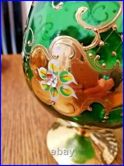 Italian Murano Art Glass Green Goblet Vase Hand Painted Enamel And Gold XL Size
