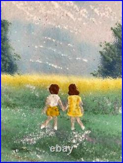 JEAN LUCEY ENAMEL ON COPPER PAINTING Siblings Children At Play County Landscape