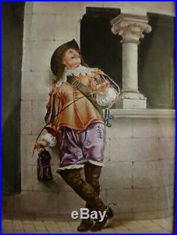JLE Meissonier Enamel Miniature Painting, Mid-late 19th c. Orig. Frame, 4 x 2 3