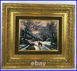 JP Loup Betourne Limoges Limited Edition Enamel On Copper Winter Scene /300
