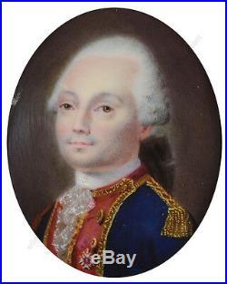 Jean-François Favre-Attrib French cavalry officer, fine enamel miniature 1780s