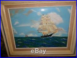 Jean Lucey French Impressionist Pastel Ships at Sea Enamel on Copper