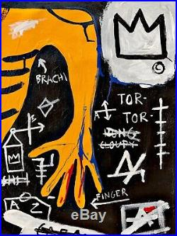 Jean-Michel Basquiat Acrylic, enamel. Oilstick painting canvas hand Signed pop Art