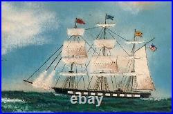 John Shaw Enamel Art Painting Copper 16x12 Nantucket Attack Whaling Ship