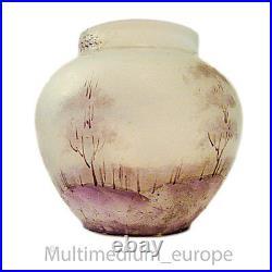 Jugendstil Glas Vase Emaille Malerei Art Nouveau glass vase enamel painting