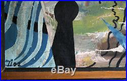 Kandinsky, Pollock Style Vintage ABSTRACT MID-CENTURY Unsigned OIL/ENAMEL Canvas