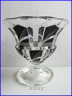 Karl Palda Bohemian Modernist Art Deco Hand Painted Black Enameled Glass Vase