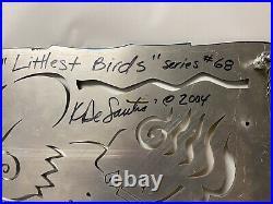 Kristin DeSantis Signed Metal Enamel Relief Painting Wall Art 22x13 Woman Birds