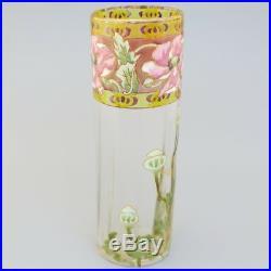 LEGRAS MONTJOYE Art Nouveau Antique French Glass Flower Vase Hand Painted Enamel