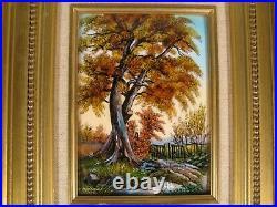 Landscape Shaft Autumn Enamel Limoges Signed Michel Betourne Master Glazer