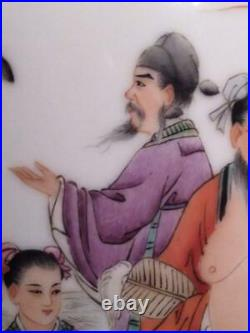 Large Asian Art Porcelain Pottery Chinese China Immortals Vase Enamel Painted