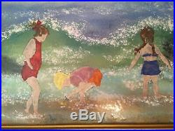 Large Enamel on Copper Painting by Jean Lucey Children at beach BEAUTIFUL