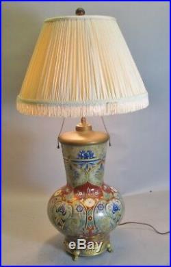 Large & Fine Antique FRENCH HAND-PAINTED Art Nouveau Vase as Lamp c. 1900