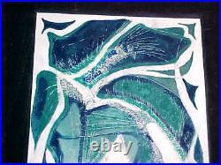 Large Modern Midcentury Abstract Studio Enamel Copper Art Plaque Painting Winter
