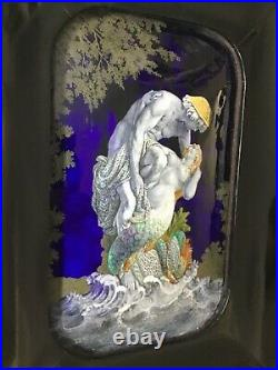 Large and outstanding antique enamel and copper erotic plaque