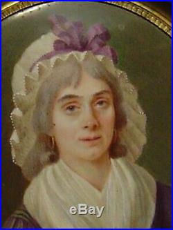 Late 1700s, enamel miniature portrait painting, French Revolution, signed