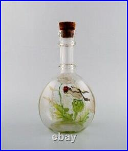 Legras, France. Carafe with hand painted enamel decoration in art glass, 1890s