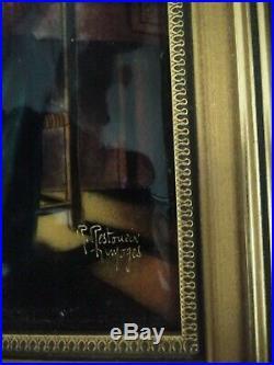 Limoge Original Hand Painted Enamel La Tricoteuse Provenance Labels Attached