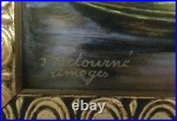 Limoges Enamel Painting Of A Man In A Canoe