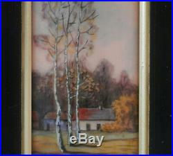 Limoges Enamel on Copper Plaque from France Landscape Painting by M. Betourne
