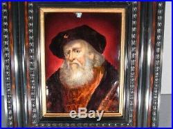 Limoges Faure Emaux Email Enamel Plaque After Rembrandt Portrait