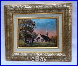 Limoges French Enamel Painting Copper Brittany Landscape Church Andre Bureau