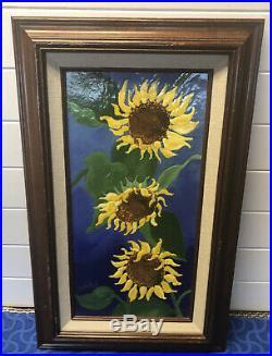 Linda Pond Enamel on Copper Framed SunFlowers Yellow Blue & Green 13 X 21