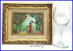 Listed Artist Louis Cardin Enamel Painting on Copper Colorful Garden Scene