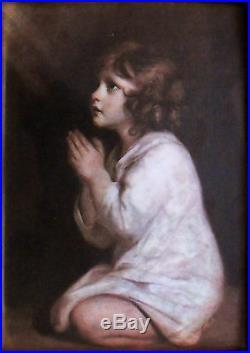 Little Samuel praying, Miniature enameled on hammered copper plate (Reynolds)