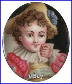 Little boy holding a coin, Continental enamel miniature, late 18th century