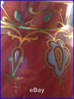 Loetz Carneol art glass Bohemian Czech lamp Antique tall hand painted enamel