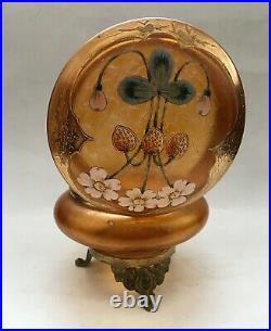 Loetz Glass Art Nouveau Strawberries enamel Painting Iridescent Powder Box Czech