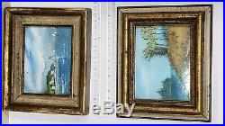 Lot of 2 Signed Belliard Enamel on Copper Framed Miniature Paintings