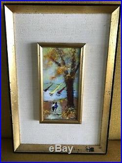Louis Cardin Era 1970s Copper On Enamel Painting By Mafalda Lovers Sailboats