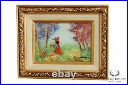 Louis Cardin Girl in Red Dress Enamel Painting on Copper