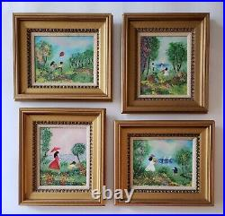 Louis Cardin Original Enamel on Copper Painting Set of 4 Garden Wildflowers EC