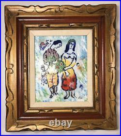 Lovers By Marc Chagall Done By Max Karp Enamel On Copper Original Framed Art