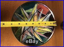 Lucille Cantini Modern Enamel Copper Art Bowl Midcentury Abstract Painting 1966