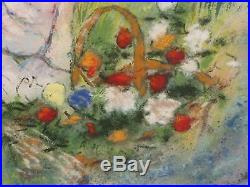 MAX KARP Original Enamel on Copper Painting Mother/Daughter 20x24 Signed