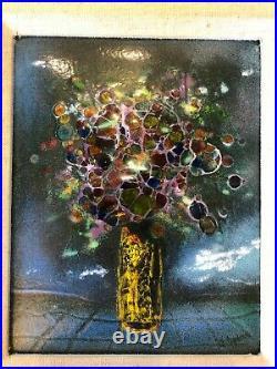 MAX KARP SIGNED ENAMEL ON COPPER Flowers in Vase Framed Ready for gifting