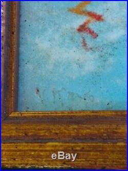 MAX KARP boys swimming Original enamel on copper MINT