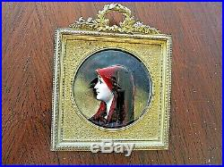 MINIATURE ENAMEL ON COPPER, FRENCH, 19THc, SIGNED, BEAUTIFULLY FRAMED