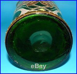 MONT JOYE HEAVY GOLD & ENAMEL MONUMENTAL Green SATIN ART GLASS HAND PAINTED VASE